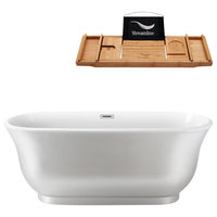 "59""  Pearl White Freestanding Tub and Tray With Internal Drain, Oval Shaped"