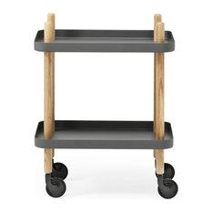 Normann Copenhagen Block Side Table/Drinks Trolley - Dark Grey