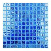 "12.5""x12.5"" Brushed Dark Blue Iridescent Glass Tile"
