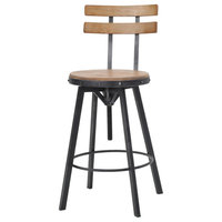 GDF Studio Poe Anique Finish Firwood Height Adjustable Bar Stool