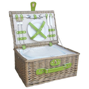 Green Fitted Picnic Basket With Zipped Chiller
