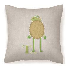 """Alphabet T for Turtle Decorative Pillow, 18""""x18"""""""
