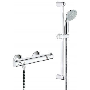 Wall Mounted Thermostat Shower Set, Solid Brass With Chrome Plated Finish