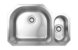 Noah's Collection Brushed Stainless Steel Double Bowl Undermount Disposal Sink