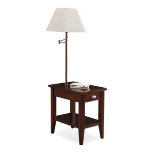 Choclate Cherry Drawer Chairside Table Transitional