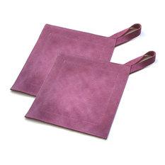 Genuine Leather Suede Kitchen Heat Protectors, Eggplant, Pot Holder, Set of 2
