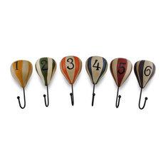 Zeckos - Hot Air Balloon Numbered Wall Hooks, 6-Piece Set - Wall Hooks