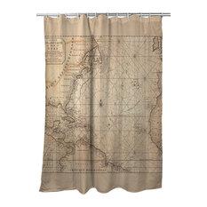 Old World Nautical Chart Shower Curtain