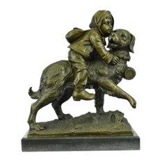 Chien Du St. Bernard By Guadez French Artist Bronze Sculpture Marble Base Statue