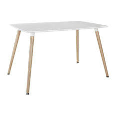 Divano Roma Furniture   Modern White Small Space Dining Table With Natural  Wood Legs   Dining