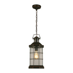 1x60W Outdoor Pendant w / Oil Rubbed Bronze Finish and Clear Seeded Glass by Egl
