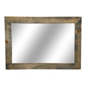 Shiplap Style Vanity Mirror, Weathered Oak, 42