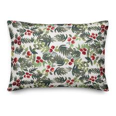 """Watercolor Holly Lumbar Pillow, 14""""x20"""""""