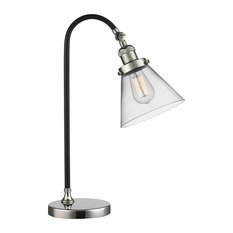 "Black Polished Nickel 1-Light, Vintage Dimmable LED Bulb, Black Brook 7"" Lamp"