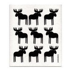 Swedish Dishcloth, Moose, Black