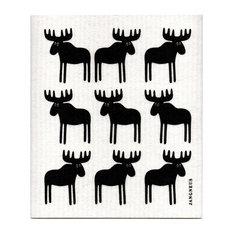 Jangneus - Swedish Dishcloth, Moose, Black - Dish Towels