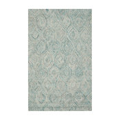 Safavieh Ikat Collection IKT631 Rug, Ivory/Sea Blue, 5'x8'