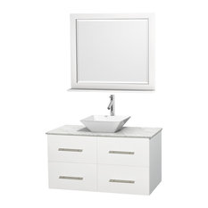 "Centra 42"" White Single Vanity, White Carrera Marble Top, White Porcelain Sink"