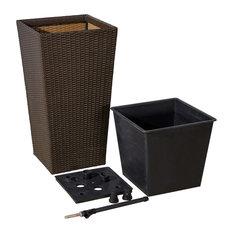 Bloomington Cubico Wicker Smart Self-Watering Planter, Espresso, 17x17x31