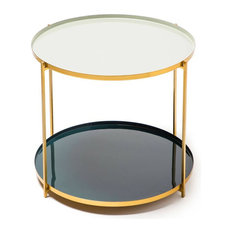 Tessa Side Table, Pale Grey and Petrol Blue, Small