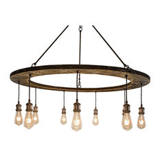 9-Light Wood Ring Chandelier