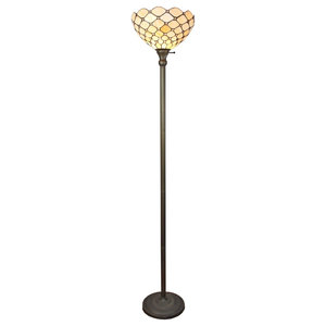 Tiffany Style Hummingbirds Floral Torchiere Floor Lamp 70