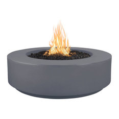 Florence Concrete GFRC Natural Gas Fire Pit With Match Lit Ignition, Gray