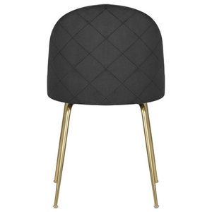 Velvet Brass Modern Dining Side Chair, Black
