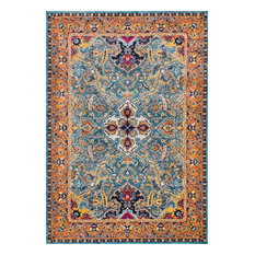 Traditional Florid Mardi Gras Area Rug, Green, 8'x10'