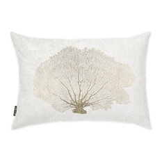 """Oliver Gal """"Gold Coral Fan"""" Pillow, 14""""x20"""""""