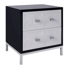 Pasargad Home - Pasargad's Firenze Side Table With 2 Drawers, Black - Side Tables and End Tables
