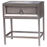 Statements by J - Cassidy 1 Drawer Nightstand - This elegant nightstand has 1 drawer, mirrored top and linen covered drawer.