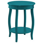 Powell Furniture - Powell Wren Round Wood End Table with Shelf in Teal Blue - This contemporary round table is a convenient accent for any room of your home. Pair this piece with your favorite accent chair, on either side of your sofa or even as a nightstand beside of your bed. A round lower shelf offers a convenient option for storing magazines, coasters or your favorite books. The cabriole tapered legs can match almost any style or design. Some assembly required.