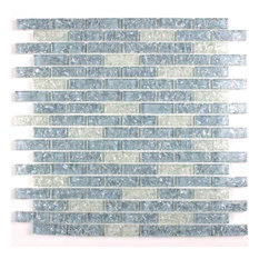 """11.8""""x12"""" Icy Ocean Stack Crackle Glass Mosaic, Set of 10"""