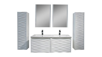 "Paris 48"" Double Vanity Set With Side Cabinets, Glossy White"