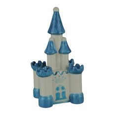 Blue and White Ceramic Childrens Magic Castle Coin Bank