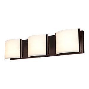 Nitro 2-LED Vanity-3-Light-Brushed Steel Finish-Opal Glass
