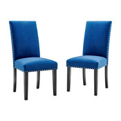 Parcel Performance Velvet Dining Side Chairs, Set of 2, Navy