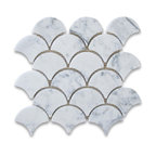 "9.5""x9.85"" Carrara White Grand Fish Scale Fan Shaped Mosaic Tile Honed"