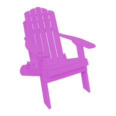 Country Classic Poly Folding Adirondack Chair With Cup Holder, Purple