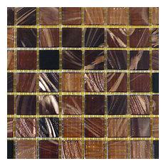 """12""""x12""""x.16"""" Glass Mosaic Tile DIY Kit, Brown Black, 10SqFt. Per Case"""