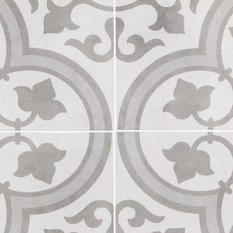 TileBar - Cascais Silver Ornate Matte Porcelain Tile, Sample - Wall and Floor Tile