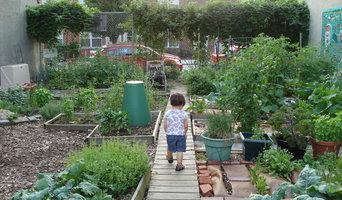 My son  and garden