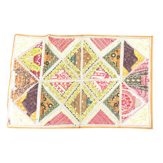 Mogulinterior - Indian Decorative Embroidered Beige Patchwork Sari Tapestry Wall Hanging - Tapestries