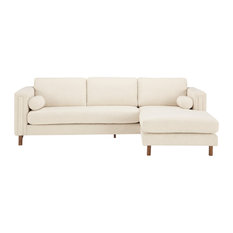 Bobby Berk Upholstered-Bi-Sectional Sofa 84-inch And Ottoman Ivory Boucle