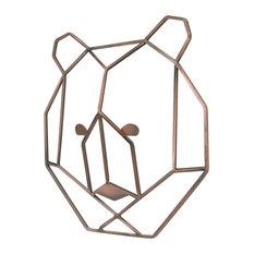 Mountain Patchwork, Metallic Copper Wire Shaped Bear Head Wall Art