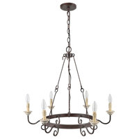 LNC 6-Light Chandelier Iron Wired Hook Chain French Antique Candle Base Light