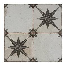SomerTile Kings Star Ceramic Floor and Wall Tile, Case of 5, Ara Nero