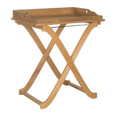 Covina Tray Table in Teak Brown Finish