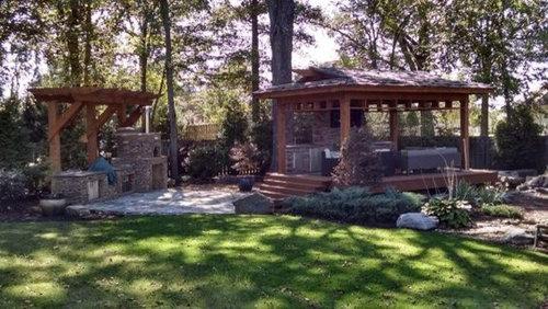 tea house outdoor kitchen carters nursery pond patio